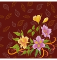 Flowers alstroemeria and leafs contours vector
