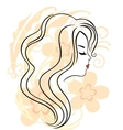 Beautiful girls face on the flower background vector