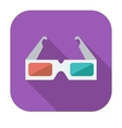 Glasses 3d single icon vector