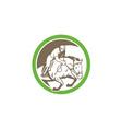 Equestrian show jumping circle retro vector