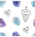 Seamless pattern with ice creams vector