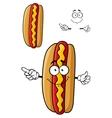 Cartooned smiling hot dog for fast food design vector