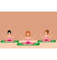 Three young girls doing yoga vector