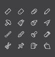 Stationery white icon set on black background vector