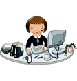 Doodle hand draw of business woman in office vector