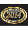 Happy new 2014 year golden label with diamonds vector