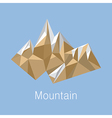 Cubic style mountain origami on blue background vector