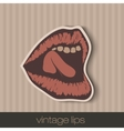 Vintage paper lips vector