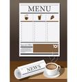 Coffee cup newspaper and menu vector