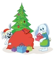 Rabbits and christmas tree vector