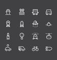 Vehicle element white icon set on black background vector