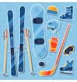 Winter sports equipment sticker icons set in flat vector
