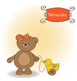 Welcome baby card with girl teddy bear and her vector