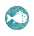 Fish symbol with pixel print halftone dots texture vector