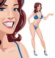 Girl in blue bikini vector
