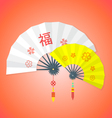 Flat style chinese new year fans vector