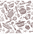 Seamless pattern kitchen items vector