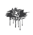 Skateboarder make trick on the background of city vector