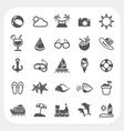 Summer vacation icons set vector