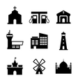 Architecture and buildings icons vector