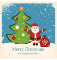 Retro christmas card with happy santa and fir vector