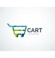 Shopping logo design made of color pieces vector
