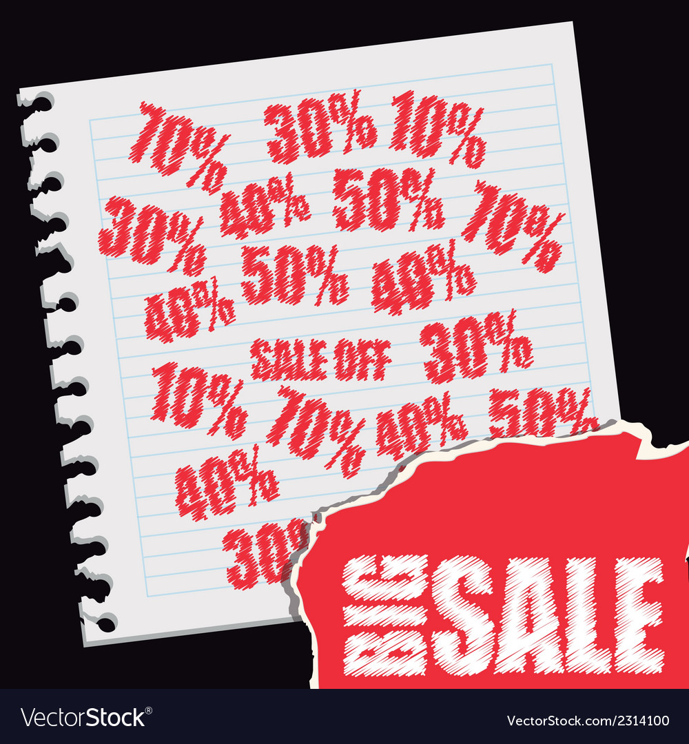 Big sale text over paper notebook discount red vector | Price: 1 Credit (USD $1)