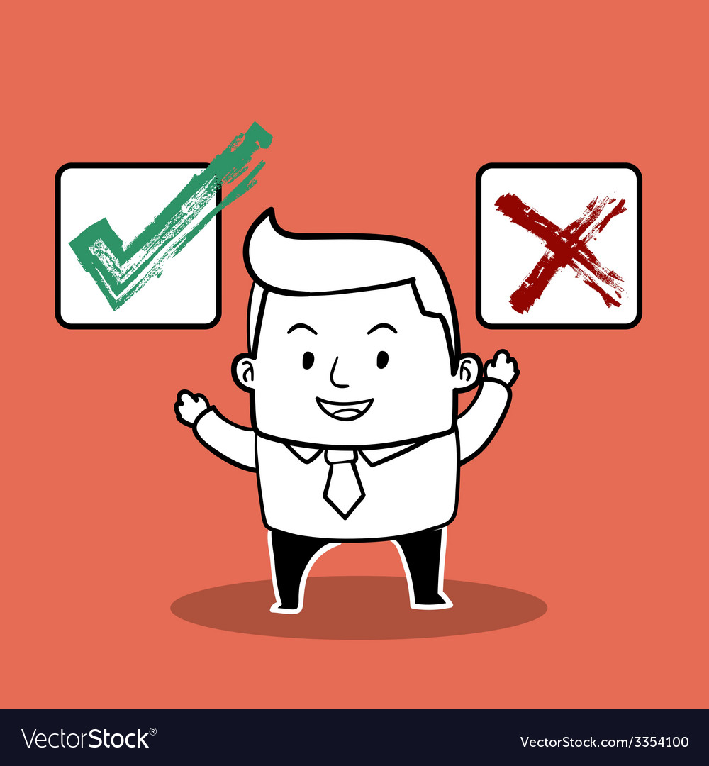 Business man right or wrong vector   Price: 1 Credit (USD $1)