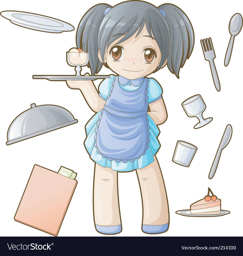 Chibi professions sets waitress vector | Price: 3 Credit (USD $3)