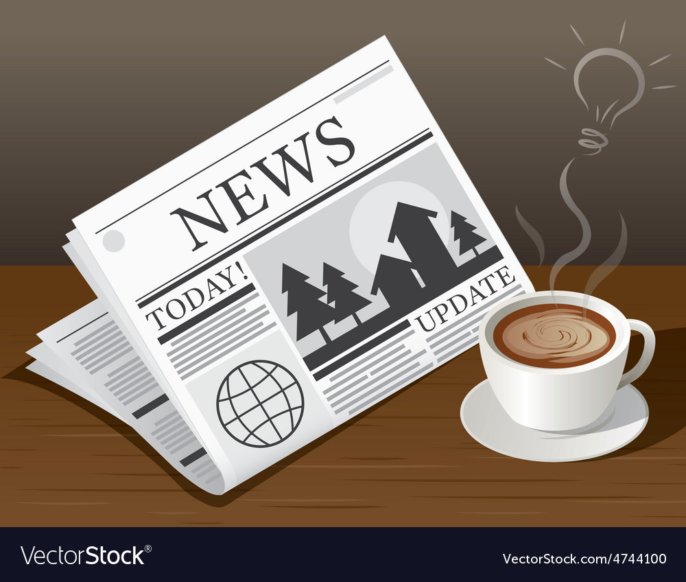 Coffee cup newspaper and ideas symbols vector | Price: 3 Credit (USD $3)