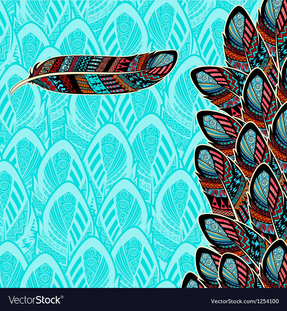 Decorative background with feather border vector | Price: 1 Credit (USD $1)