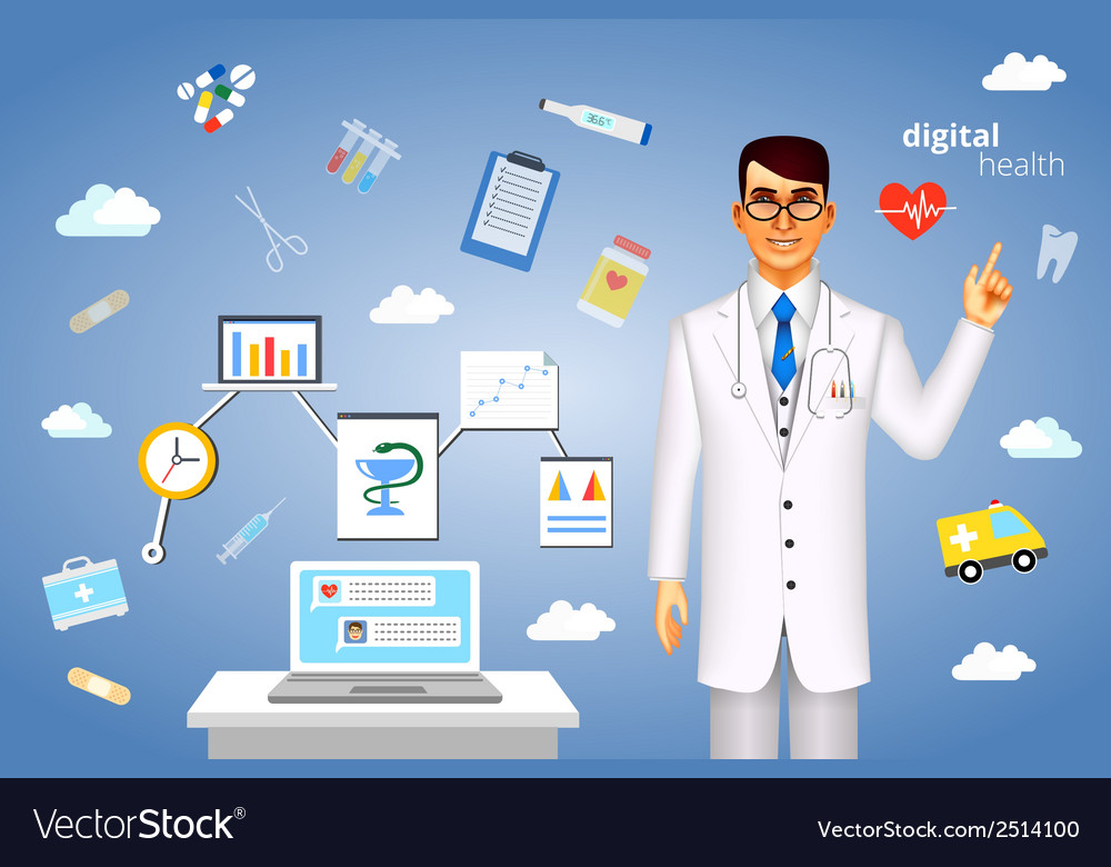 Digital health concept with medical icons vector | Price: 1 Credit (USD $1)