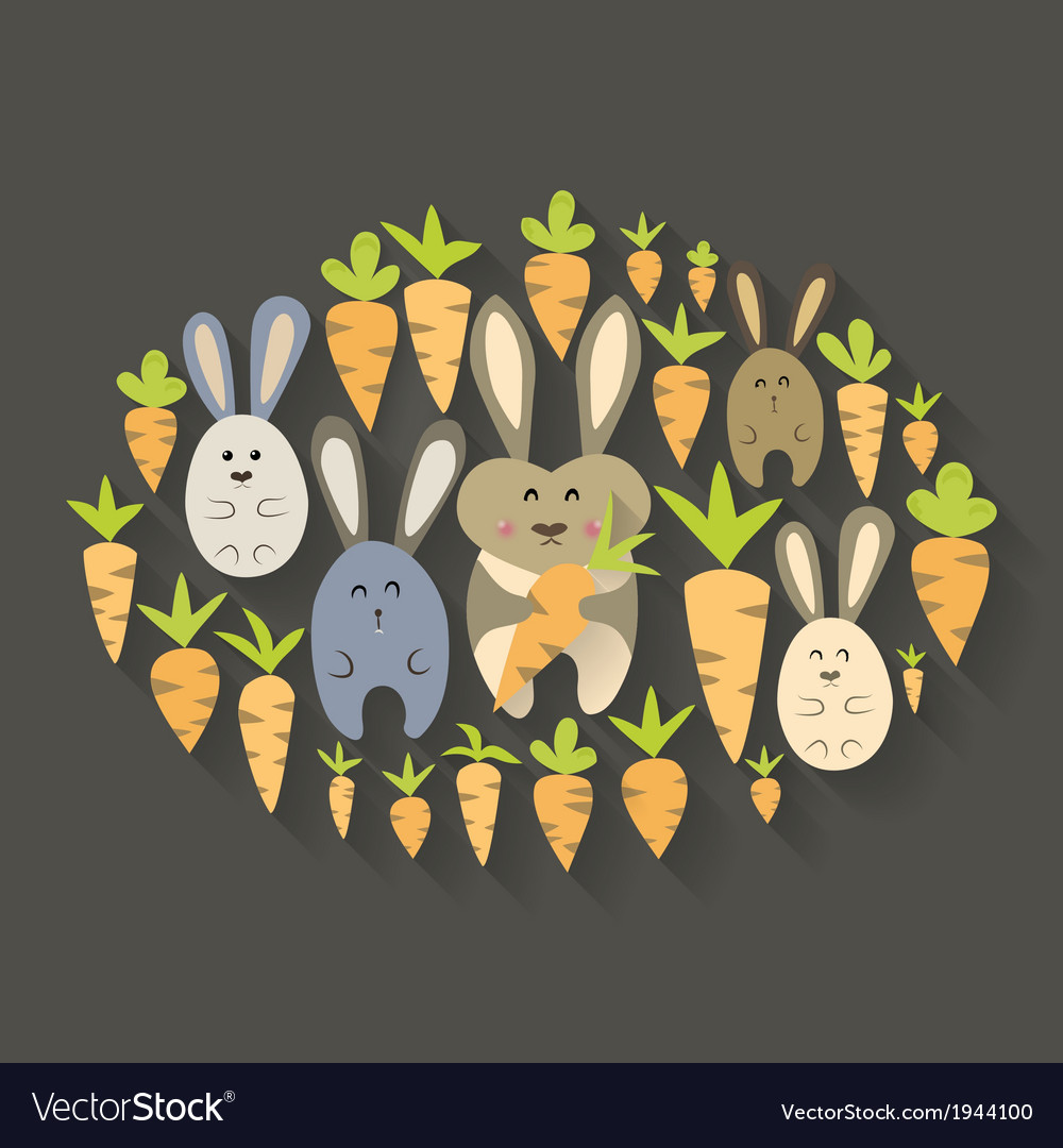 Easter rabbits and carrots icon set vector | Price: 1 Credit (USD $1)