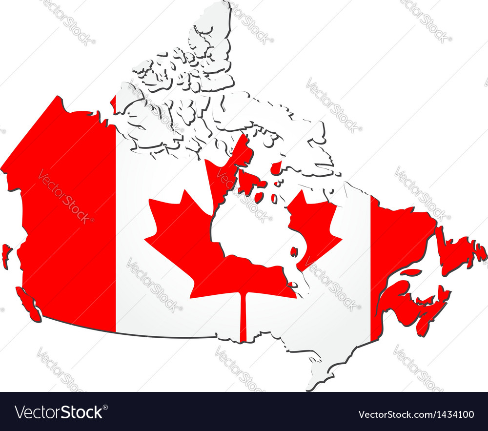 Map of canada with national flag vector | Price: 1 Credit (USD $1)
