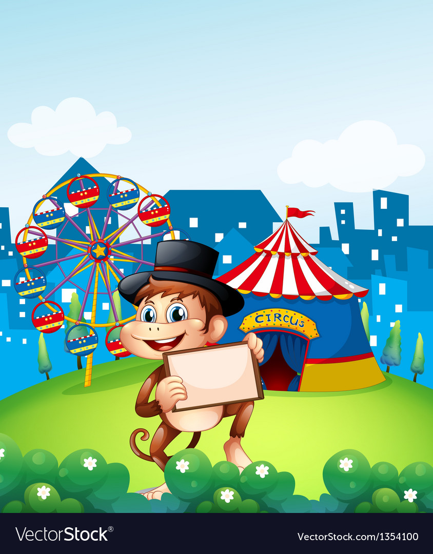 Monkey circus carnival vector | Price: 1 Credit (USD $1)
