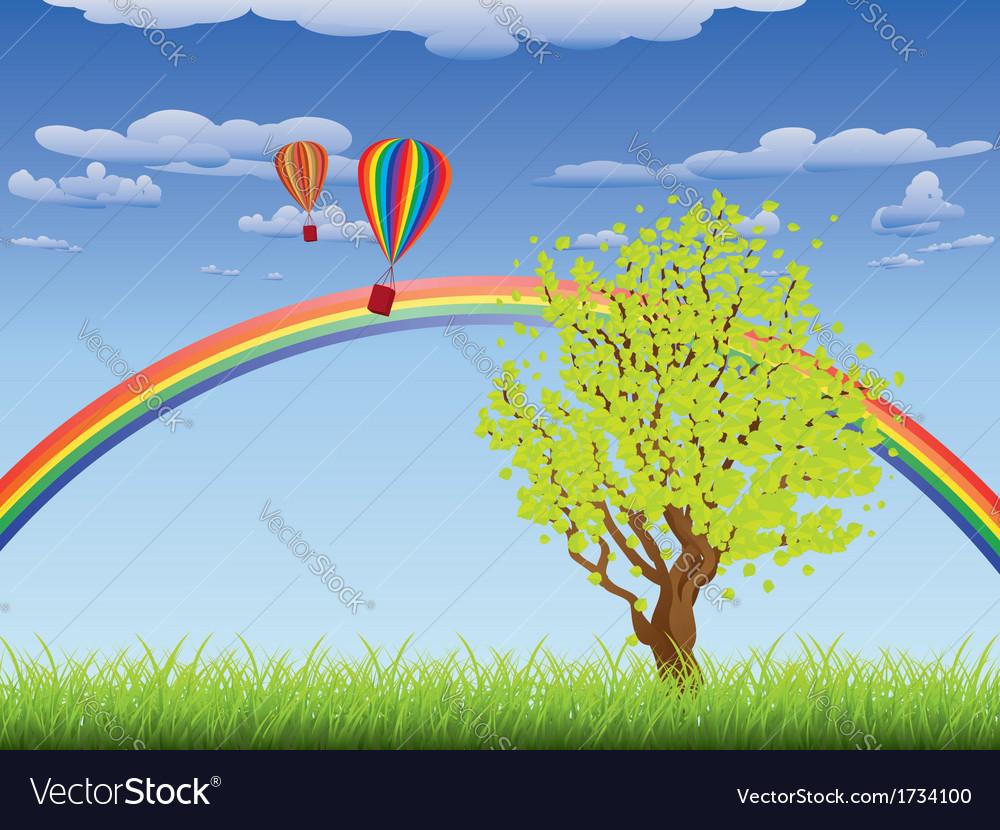 Tree on grass field vector | Price: 1 Credit (USD $1)