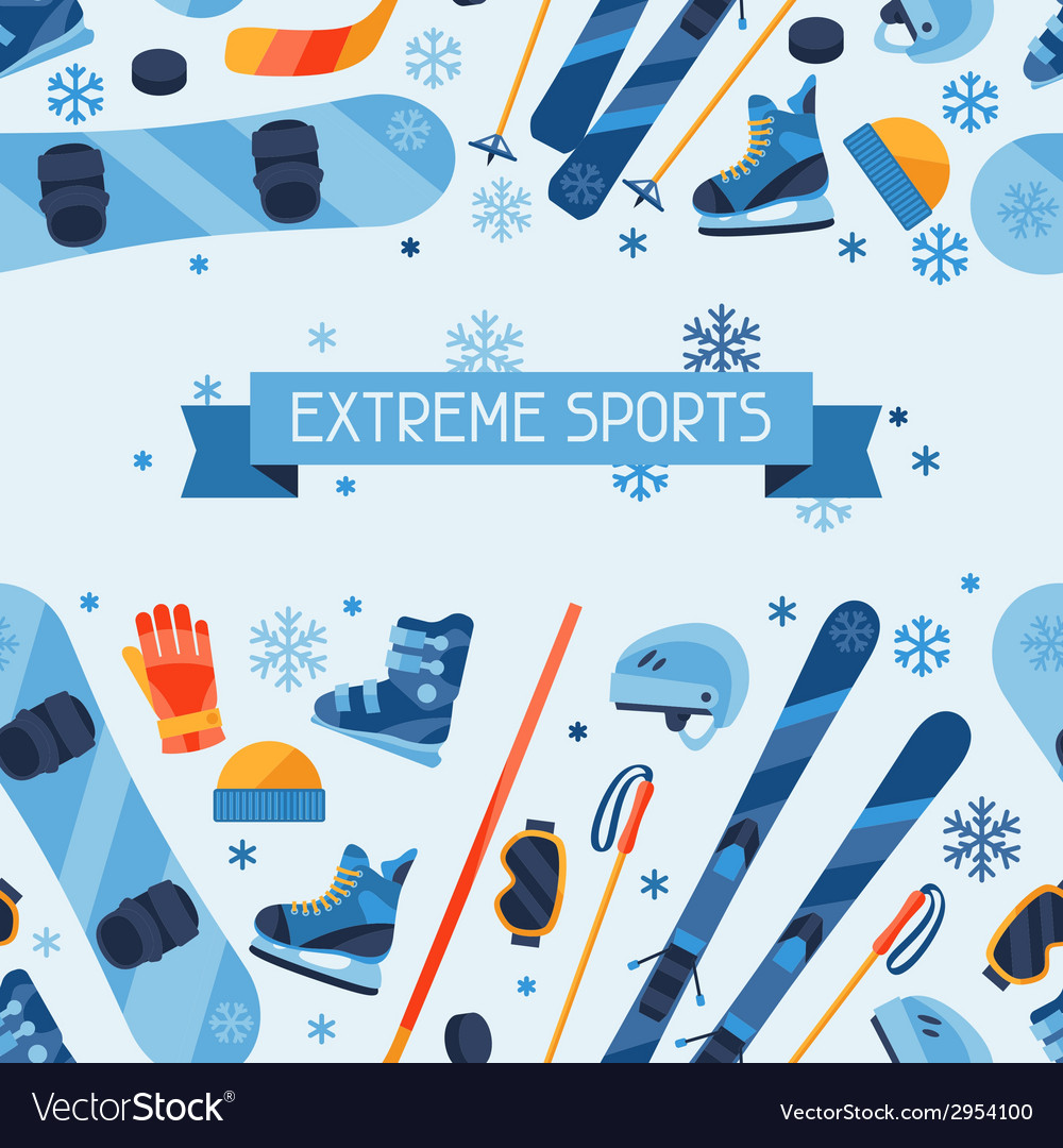 Winter sports seamless pattern with equipment flat vector | Price: 1 Credit (USD $1)