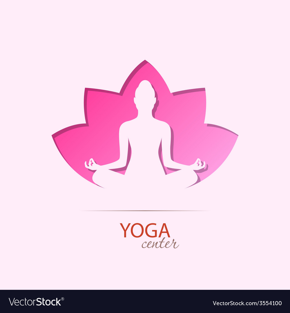 Yoga center girl in lotus silhouette symbol vector | Price: 1 Credit (USD $1)