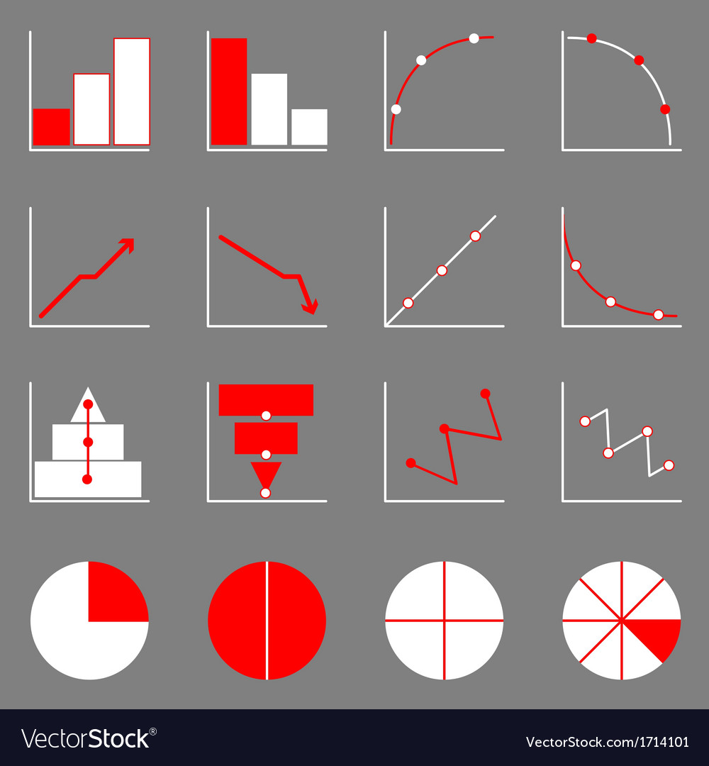 Applied graph icons on gray background vector | Price: 1 Credit (USD $1)