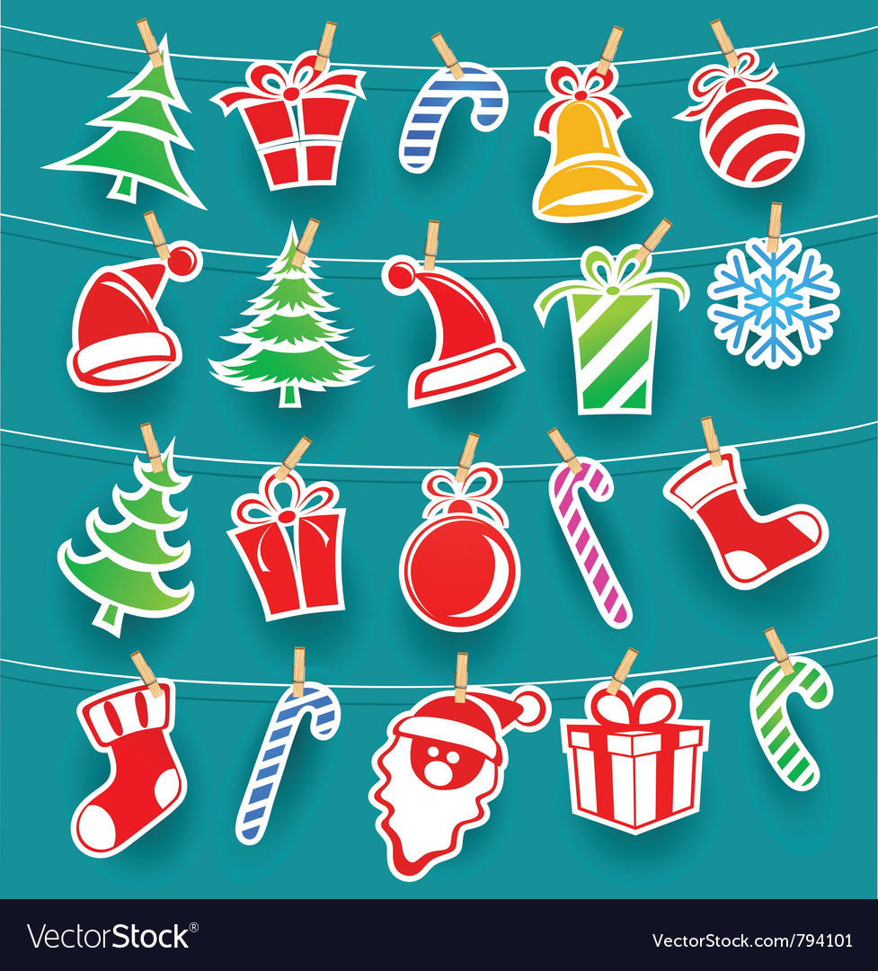 Background with christmas icons vector | Price: 1 Credit (USD $1)