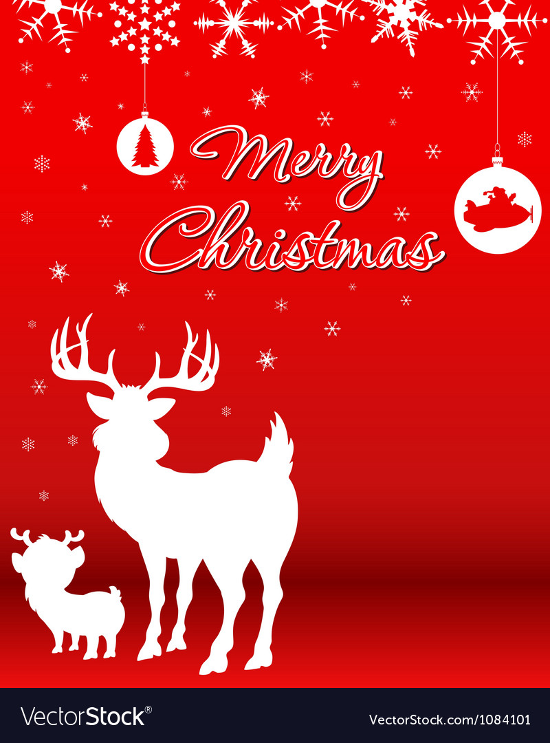 Christmas background with reindeer baby reindeer vector | Price: 1 Credit (USD $1)