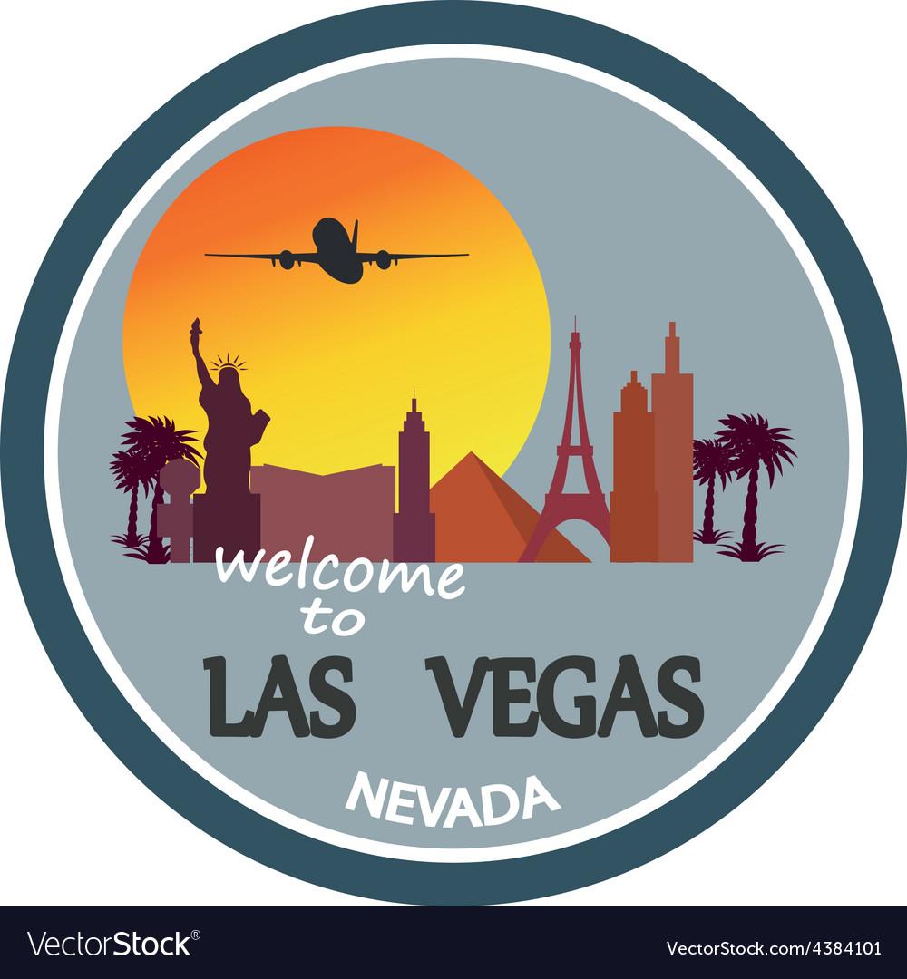 Designed travel label las vegas vector | Price: 1 Credit (USD $1)