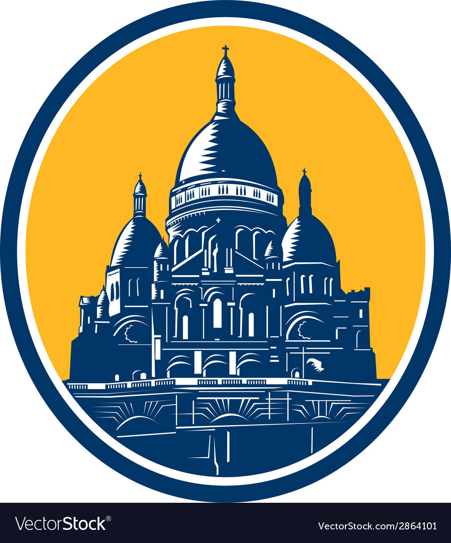 Dome of sacre coeur basilica paris retro vector | Price: 1 Credit (USD $1)