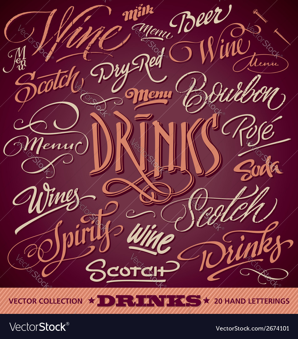 Drinks menu headlines set vector | Price: 1 Credit (USD $1)