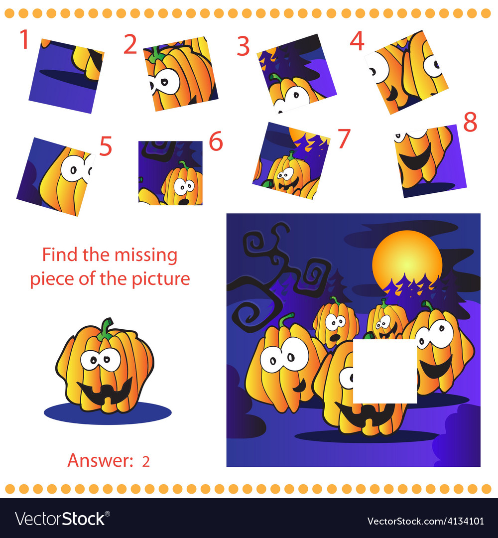 Find missing piece - puzzle game for children vector | Price: 1 Credit (USD $1)