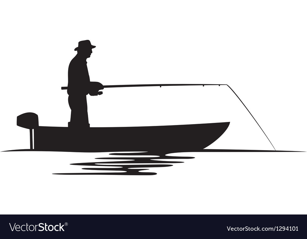 Fisherman in a boat silhouette vector | Price: 1 Credit (USD $1)