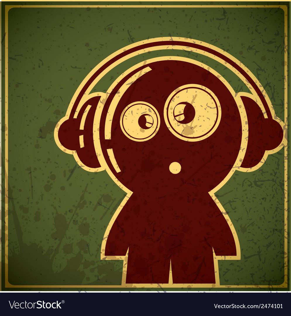 Funny character in headphones vector | Price: 1 Credit (USD $1)