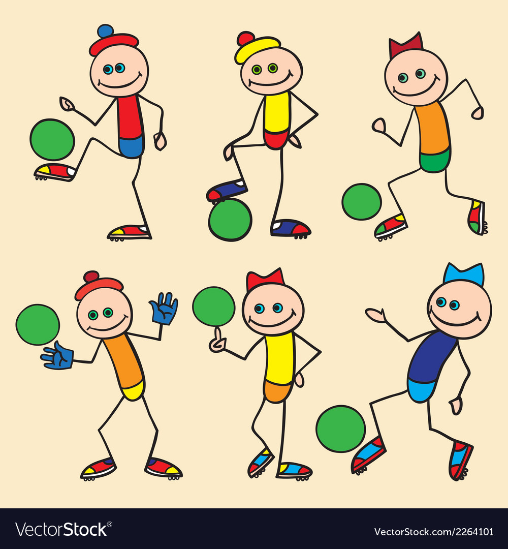 Little toy men playing football vector | Price: 1 Credit (USD $1)