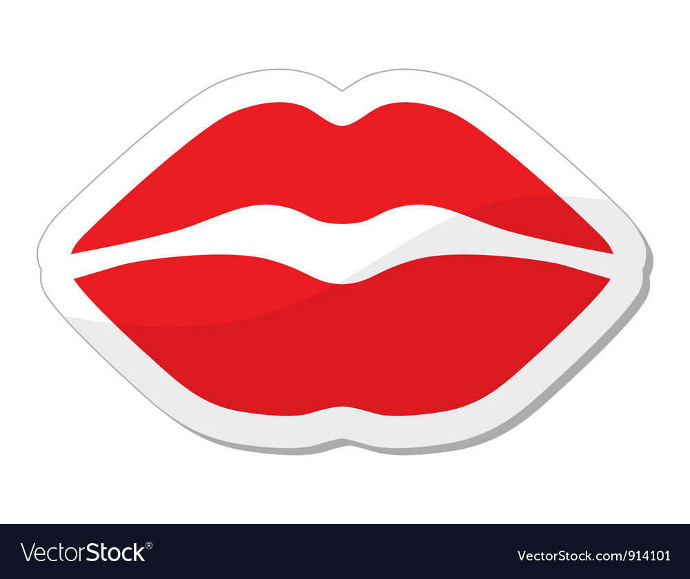 Red lips icon vector