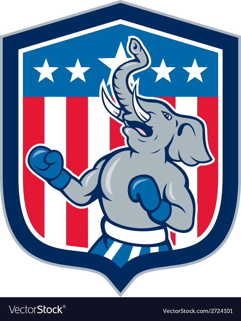 Republican elephant boxer mascot shield cartoon vector | Price: 1 Credit (USD $1)